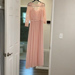 3/4-Sleeve Illusion Lace and Mesh Long Dress